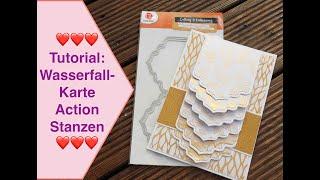 Tutorial Wasserfall-Karte basteln, NEUE Action Stanzen, Karte für Goldene Hochzeit /Valentins-Karten