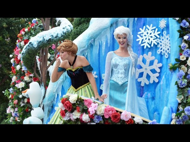 "FULL Festival of Fantasy Parade with ""Frozen"" Music Added to Anna & Elsa Float, Magic Kingdom"