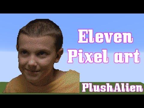 Minecraft Pixel Art SpeedBuild   Eleven   Stranger Things