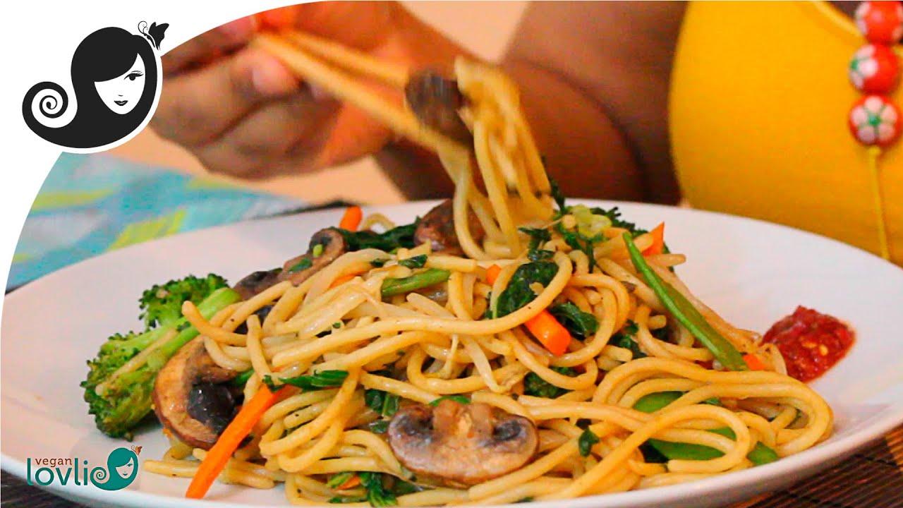 stir-fried vegetable spaghetti recipe (vegetarian / vegan