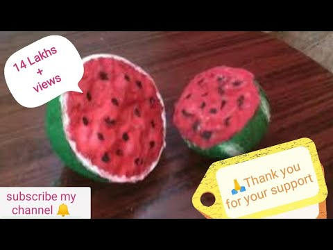 Kids craft -Water melon with coconut shell.