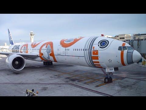 "All Nippon Airways ""Star Wars BB-8"" Boeing 777-300ER [JA789A] Landing at LAX!"
