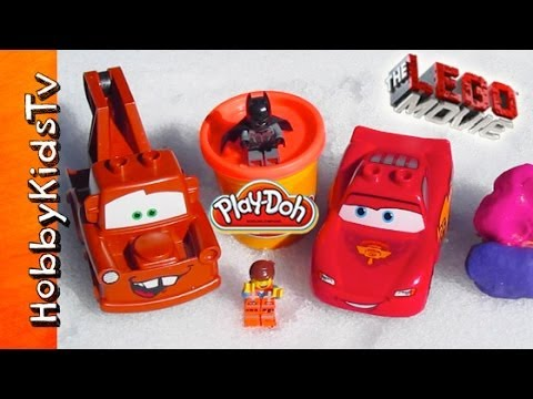 Lego Movie Batman and Emmett Snowball Fight + Mater Helps Lightning McQueen [Cars] [Disney]