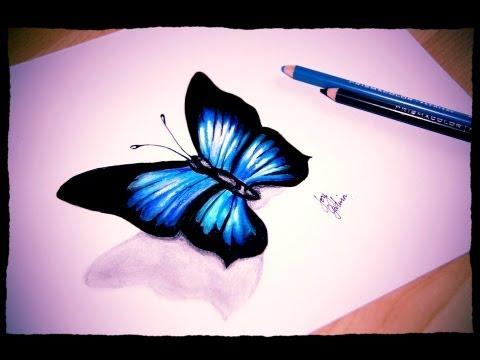 How I draw a simple Butterfly (Prismacolor Pencils and Markers speed sketch) ❤
