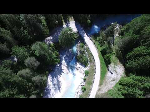 Clear water river Cortina D'Ampezzo Dolomites Italy, Fanes DJI Phantom