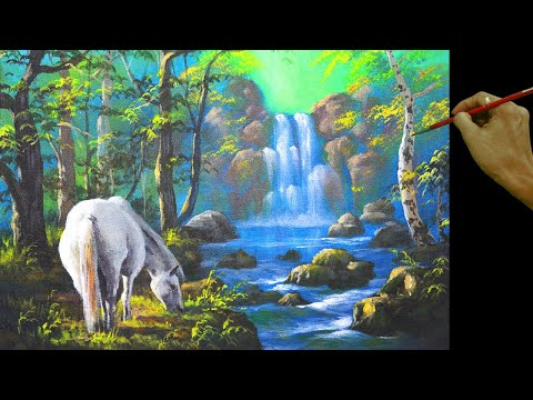White Horse and the Waterfall Full Acrylic Painting Tutorial by JM Lisondra