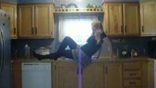 Alicia in jet, black, stockings...