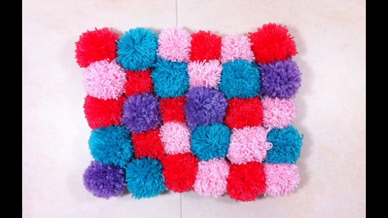 C mo hacer una alfombra de pompones tutorial diy youtube - Como hacer pompones ...