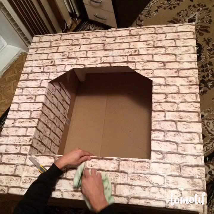 Как сделать камин своими руками видео из коробки