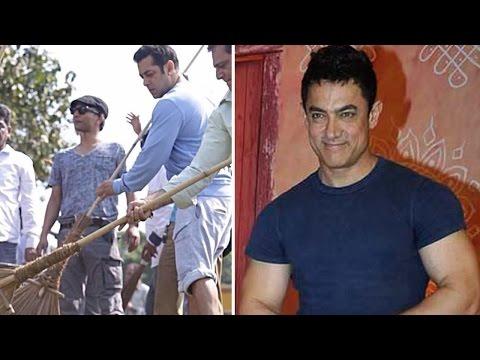 Salman Khan Gives The Broom To Aamir Khan And Rajinikantkh video