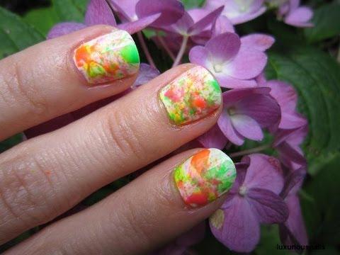 Neon Splatter Paint Nails Neon Paint Splatter Nail Art