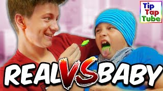 REAL FOOD vs BABY FOOD CHALLENGE - TipTapTube
