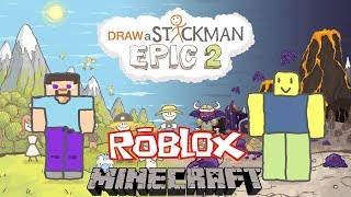 MINECRAFT vs ROBLOX Draw a Stickman Epic 2 Gameplay - Steve Save Noob Best Friend Forever | GuideAZ