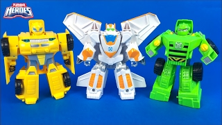 PLAYSKOOL HEROES TRANSFORMERS RESCUE BOTS BUMBLEBEE BLADES AND BOULDER CONSTRUCTION BOT - UNBOXING