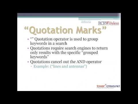 Towercrews.net Webinar: How to Use Boolean Logic to Source Candidates