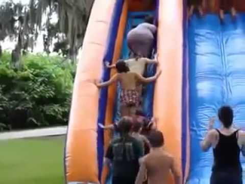 Fat Woman Falls Down Waterslide & Wipes Out Kids in Line