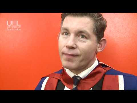 Lee Evans receives an Honorary Doctorate of the Arts from UEL