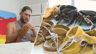 Homeless Man Makes Beautiful Leather Shoes and Backpacks