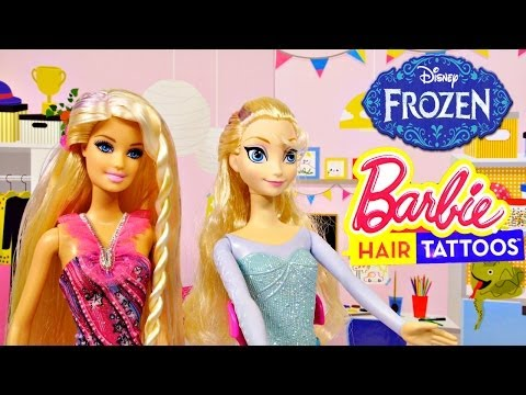 Barbie Hair Tattoos on Disney Frozen Elsa Barbie Doll Makeover Episodes by Disney Cars Toy Club