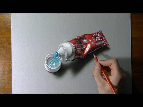 Hyperrealistic speed drawing of a toothpaste tube