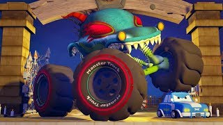 Road Rangers Vs Haunted House Monster Truck Cartoons | Car Videos For Babies | Kids Channel