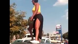 NO-PANT Queen Skolopad Qwabe Dances with a friend on top of a Car