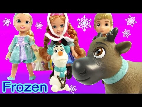 Disney Frozen Toddlers Doll Queen Elsa Princess Anna Kristoff Olaf Sven Play Set video