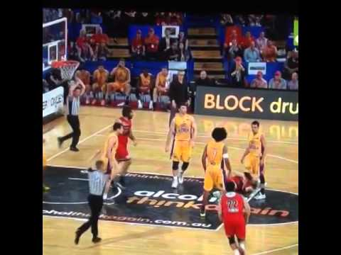 Josh Childress Smashes Opponent's Face With Flying Elbow (NBL 2014)