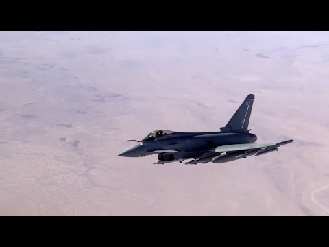 British Typhoon Jets Refuel Over the Middle East [HD]