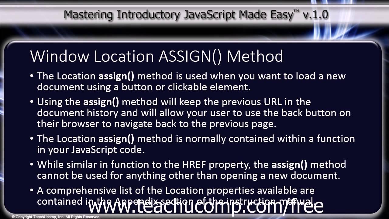 Javascript training tutorial window location assign for Window location assign