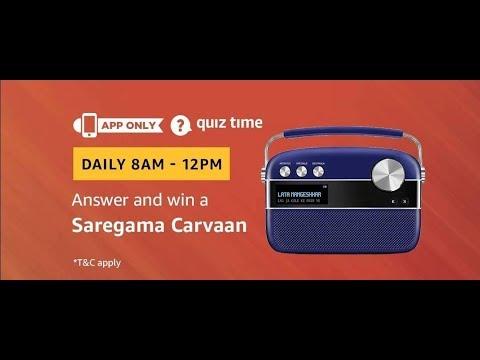 #97 (Answer Added) Amazon quiz Time | win Saregama Carvaan