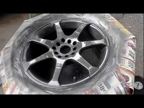 """""""How to Paint rims with Rustoleum"""" wheel paint part 2 Paint and clear"""