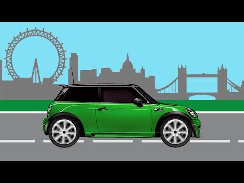 Учим марки автомобилей. Городская машинка Mini Cooper едет в Лондон!. Мультик-конструктор