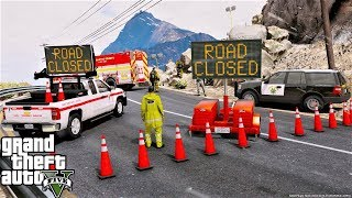 GTA 5 Mod DOT Emergency Message Board Truck Responding To A Mudslide On The Highway