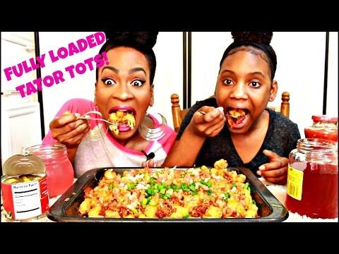 MUKBANG: FULLY LOADED TATOR TOTS! EAT WITH US! YUMMYBITESTV thumbnail