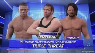 WWE 2k17 - John Cena vs AJ Styles vs Dean Ambrose Gameplay - Full Match