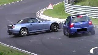 Hard VW Golf 4 R32 vs. Honda S2000 Crash Unfall Nordschleife Nürburgring Touristenfahrten