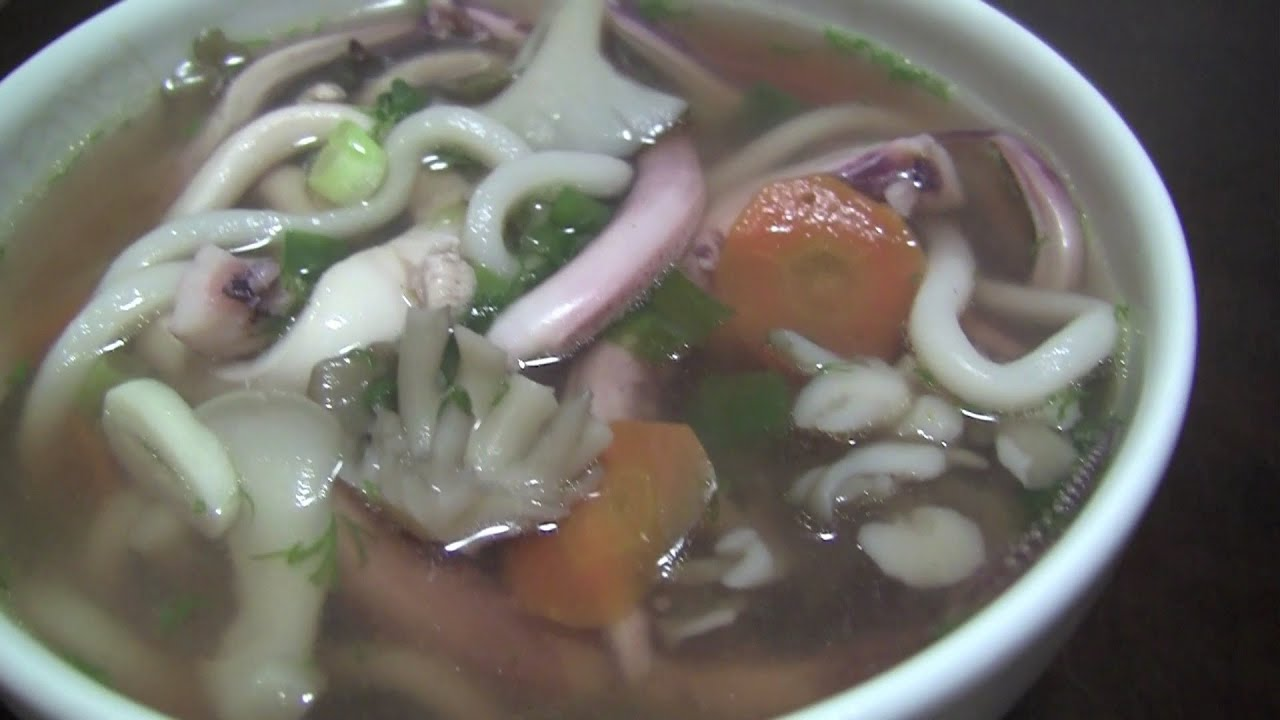 Korean Squid Soup How to Cook Squid Noodle Soup