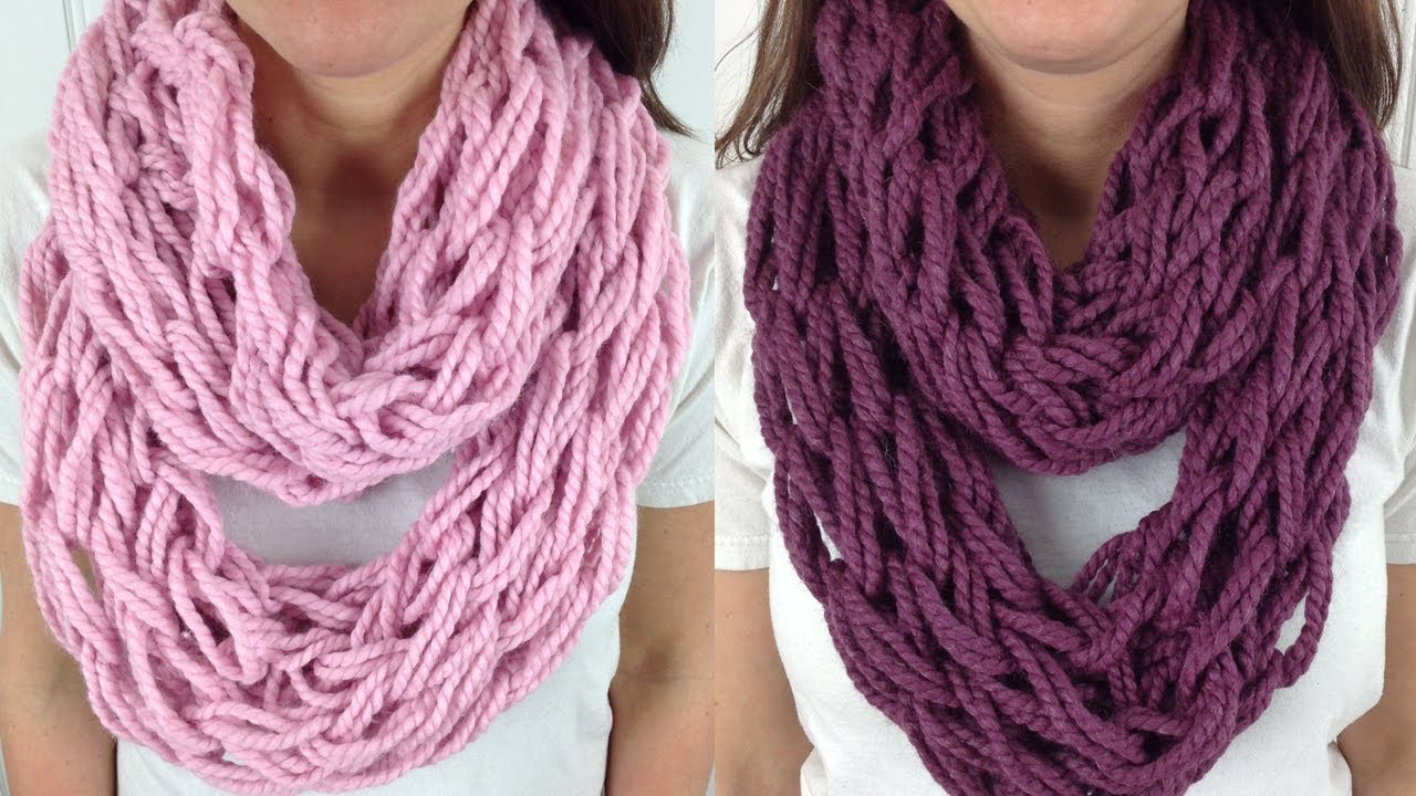 30 Minute Arm Knit Infinity Scarf Cowl With Lion Brand Wool Ease Left Handed Youtube
