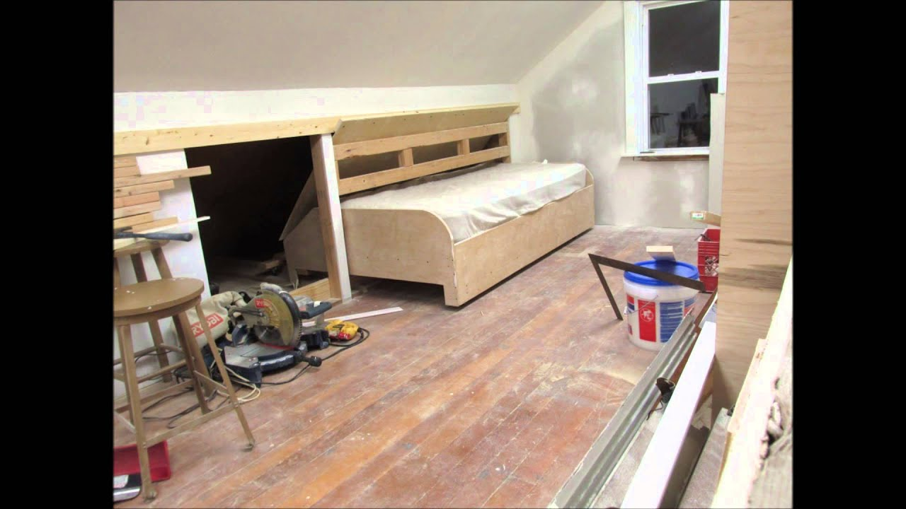 bedroom attic storage ideas - Mocking up the Bed Door on the Hidden Pull Out Bed