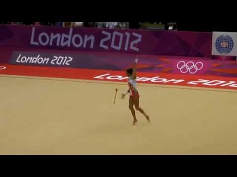 Rhythmic Gymnast Aliya Garayeva from Azerbaijan, in the finals of 2012 Olympics(with ball).MP4