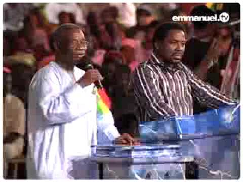 The President of Ghana, His Excellency John Evans Atta Mills, speaks at a thanksgiving service with T.B. Joshua at The Synagogue, Church Of All Nations - and...