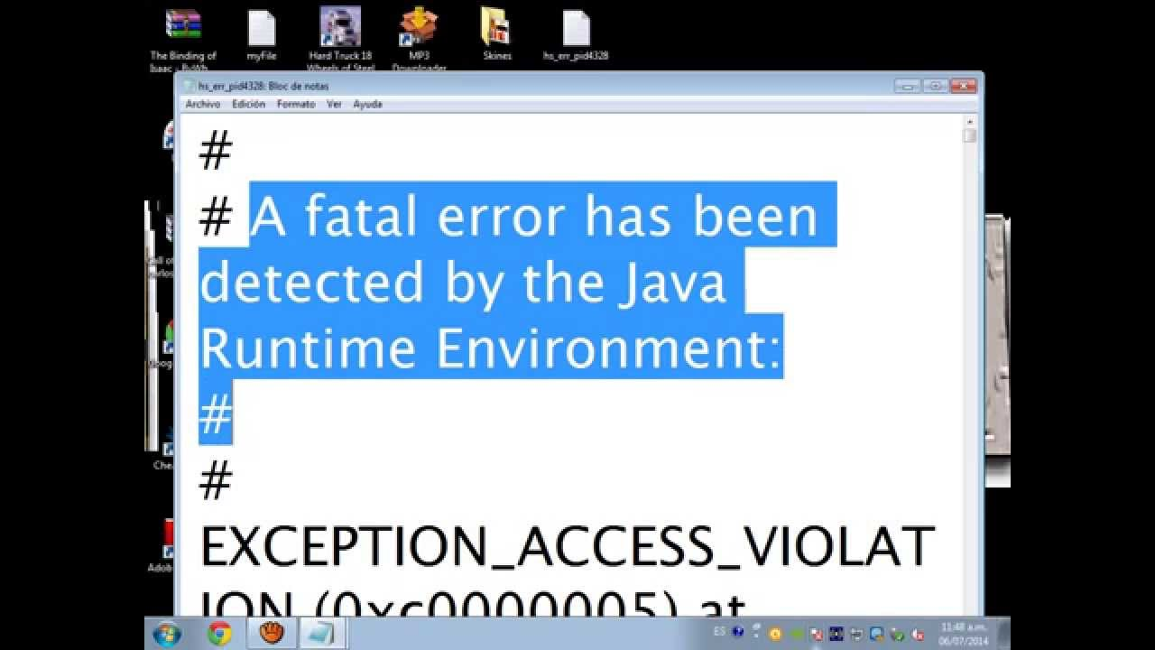 a fatal error has been detected by the java runtime environment