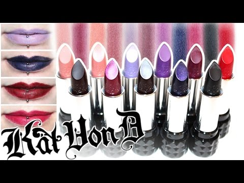 Review & Swatches: KAT VON D Studded Kiss Lipsticks   Coven. Motorhead. Wolvesmouth and MORE!
