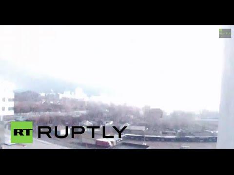 Ukraine: See this massive flash light up Donetsk skyline