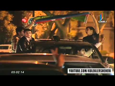 Azerbaijani people celebrating Eurovision 2011 Victory in Baku (Part 1)