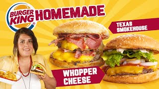 Burger King CHALLENGE! Make your Whooper at Home! BONUS Texas Smokehouse Burger 🍔