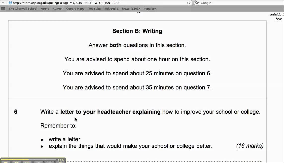 Question on GCSE English Essay?