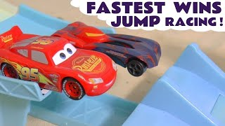 Disney Cars Toys Jump Race with McQueen and the Hot Wheels Avengers - Funny Funlings host TT4U