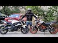 Triumph Street Triple Vs Duke 390 In City Traffic Ride.